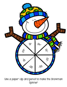 Subtracting 10's: Snowman Spin