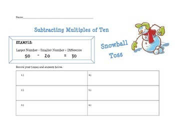 Subtracting 10s Snowball Toss