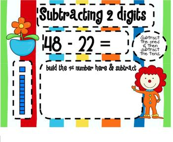 Subtracting 2 Digit Numbers Circus SMARTBoard Lesson & Scoot Game