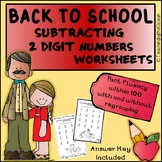 Subtracting 2 Digit Numbers Worksheets – Back to School Themed