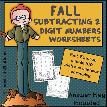 Subtracting 2 Digit Numbers Worksheets – Fall Themed