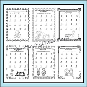 Subtracting 2 Digit Numbers Worksheets – Spring Themed