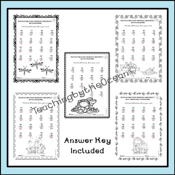 subtracting  digit numbers worksheets  spring themed by teaching  subtracting  digit numbers worksheets  spring themed
