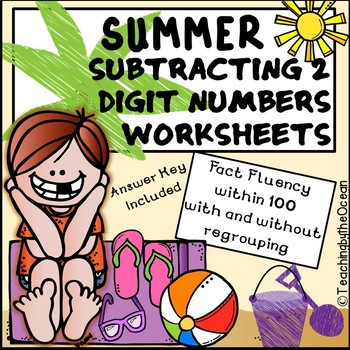 Subtracting 2 Digit Numbers Worksheets – Summer Themed