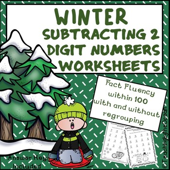 Subtracting 2 Digit Numbers Worksheets – Winter Themed
