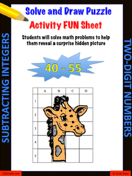 Subtracting 2-digit Integers Puzzle Activity Worsheet