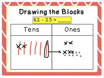 Subtracting 2-digit numbers with base ten drawings