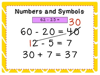 Subtracting 2-digit numbers with numbers and symbols (part