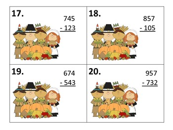 Subtracting 3 Digit Numbers Centers--without/with regrouping---Thanksgiving