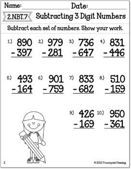 Subtracting 3 Digit Numbers Worksheets