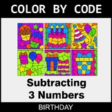 Subtracting 3 Numbers - Color by Code / Coloring Pages - Birthday