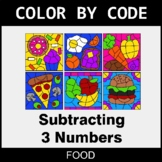 Subtracting 3 Numbers - Color by Code / Coloring Pages - Food