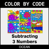Subtracting 3 Numbers - Color by Code / Coloring Pages - Ocean
