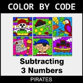 Subtracting 3 Numbers - Color by Code / Coloring Pages - Pirates