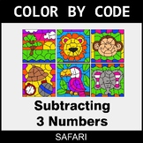 Subtracting 3 Numbers - Color by Code / Coloring Pages - Safari