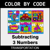 Subtracting 3 Numbers - Color by Code / Coloring Pages - T
