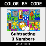 Subtracting 3 Numbers - Color by Code / Coloring Pages - Weather