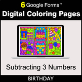 Subtracting 3 Numbers - Google Forms | Digital Coloring Pages