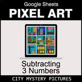 Subtracting 3 Numbers - Google Sheets Pixel Art - City