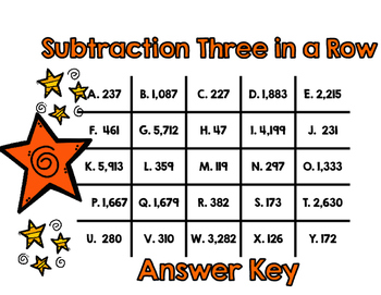 Subtracting 3 and 4 Digit Numbers-Three in a Row Game