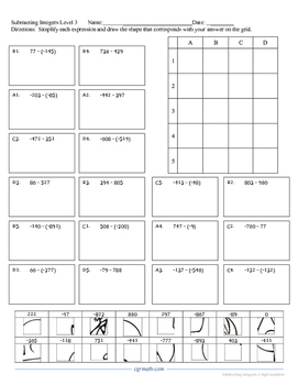 Subtracting 3-digit Integers Puzzle Activity Worsheet