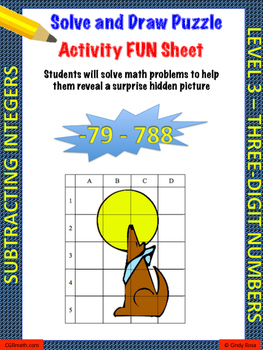 Subtracting 3-digit Integers Puzzle Activity Worsheet