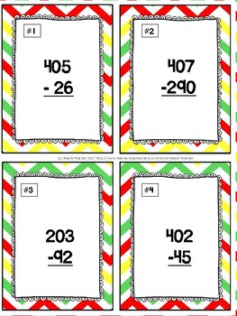 Back to School Themed Subtracting Across 0 Task Cards & Game 2.NBT.5