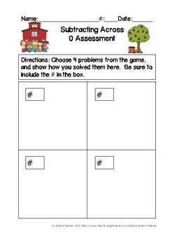 Back to School Themed Subtracting Across 0 Task Cards & Game