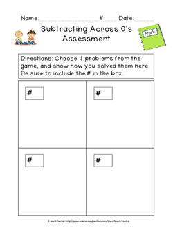 Subtracting Across 0's Task Cards & Game 4.NBT.4