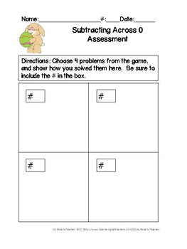 Easter Themed Subtracting Across 0's Task Cards & Game 2.NBT.5