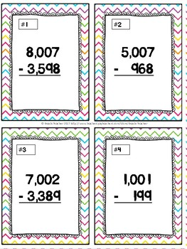 Subtracting Across Mutiple 0's Task Cards & Game (Easter) 4.NBT.4