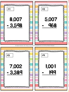 Subtracting Across Mutiple 0's Task Cards & Game (Summer) 4.NBT.4
