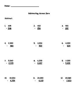 subtracting across zero worksheet by kris milliken  tpt