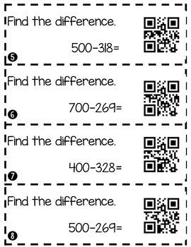 Subtracting Across Zeros (3 Digit Numbers) Center Strips