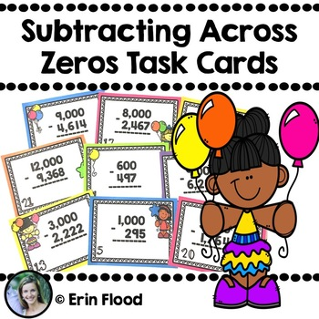 Subtracting with Regrouping Across Zeros Task Cards