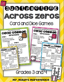 Subtracting Across Zeros Card and Dice Games for Third and Fourth Grades