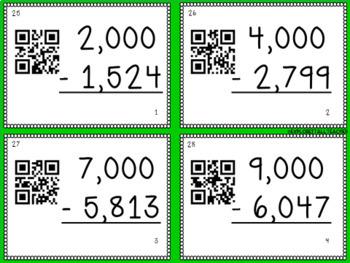 Subtracting Across Zeros Spring Task Cards