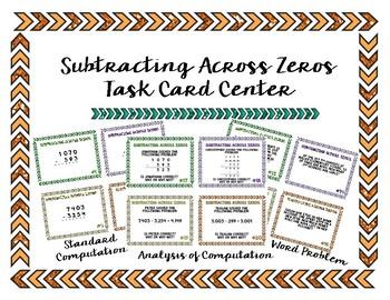 Subtracting Across Zeros Task Card Center