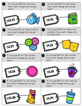 Subtracting Across Zeros Using Money Task Cards