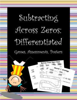 Subtracting Across Zeros - differentiated lesson materials