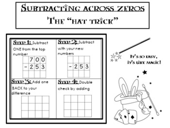 Subtracting Across Zeros interactive notebook foldable guided notes