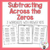 Subtracting Across the Zeros - 4 Digit Numbers With Answer Keys!
