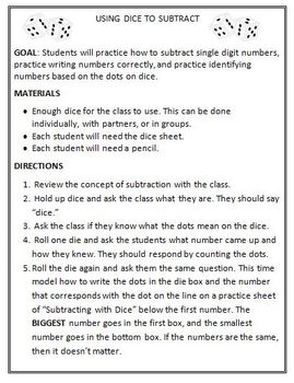 Subtracting Activity: Using Dice to Teach Students Subtraction
