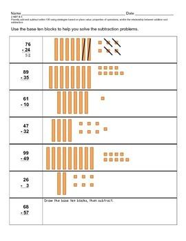Subtracting Base Ten Blocks (No Regrouping)
