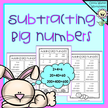 Subtracting Big Numbers - Subtracting Ones, Tens , Hundreds, Math ...