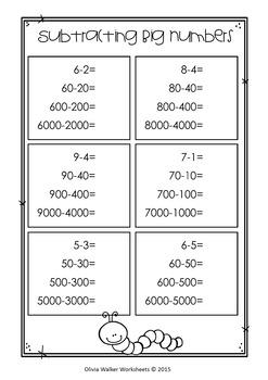 Subtracting Big Numbers - Subtracting Ones, Tens , Hundreds, Math Worksheets