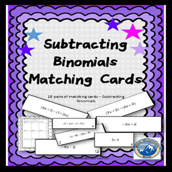 Subtracting Binomials Matching Card Set