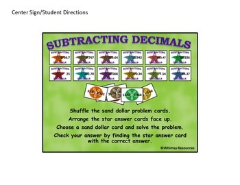 Subtracting Decimal Domino Math Center Nautical