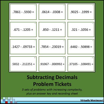Subtracting Decimal Problem Tickets / Cards