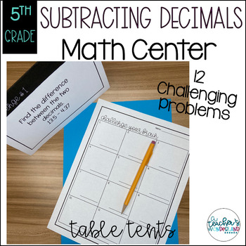 Subtracting Decimal Table Tents Challenge
